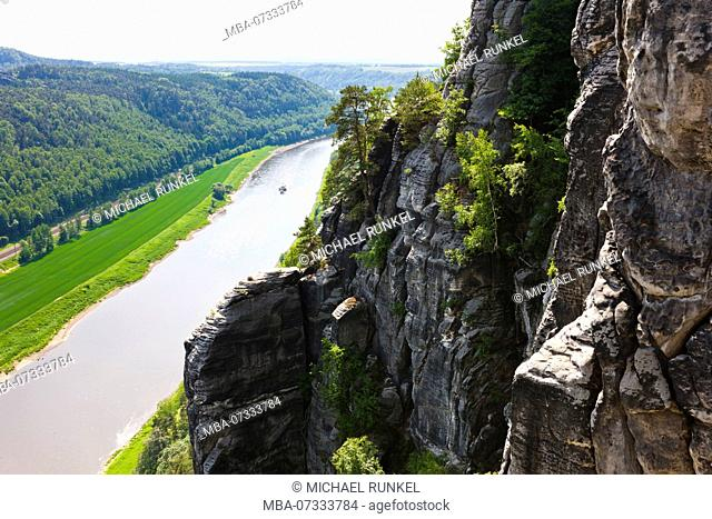 Overlook over the saxony switzerland and the river Elbe, Saxony, Germany