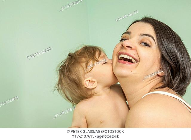 Pregnant woman with her young nephew