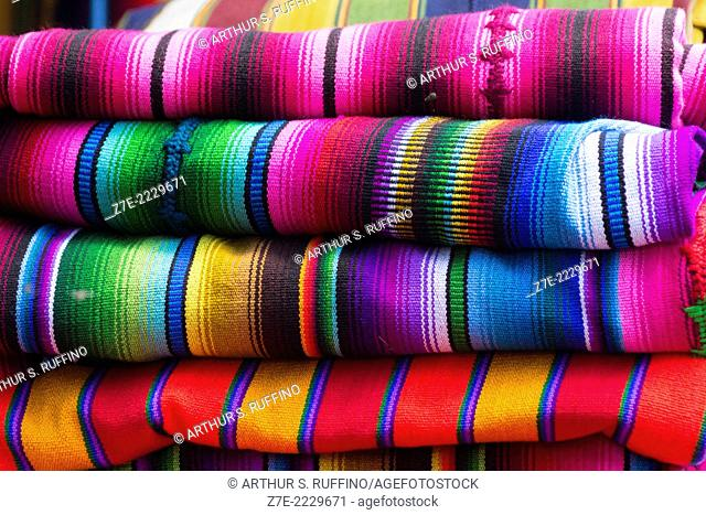 Close-up of colorful textiles, Guatemala, Central America