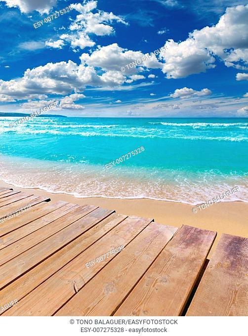 Majorca sArenal arenal beach Platja de Palma in mallorca deck photo mount