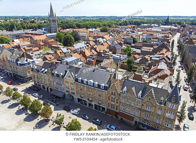 High view of Grote Markt and the skyline of Ypres village, Belgium