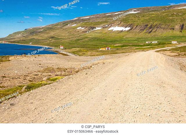 Rural gravel route to Unadsdalur village - Iceland