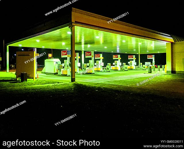 Amsterdam, Netherlands. Gas & Fuel Station Alonside Highway A2 at Night