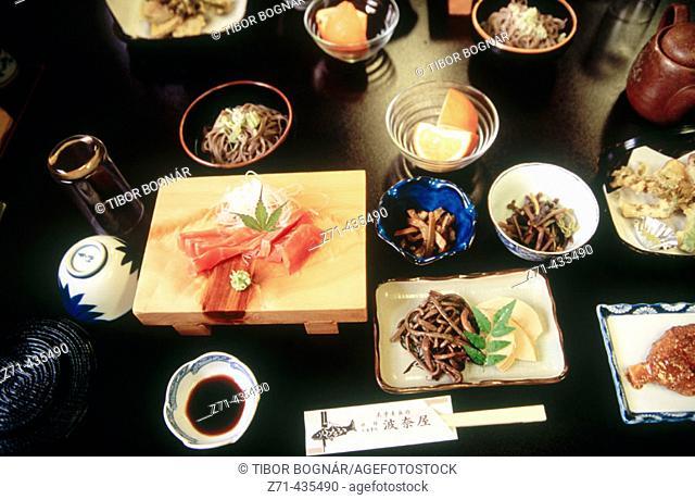 Traditional dinner in a 'ryokan' in Tsumago, Kiso valley. Central Honshu, Japan