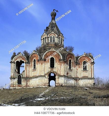Abandoned church, Resurrection, 1874, Gurievo, Tver region, Russia