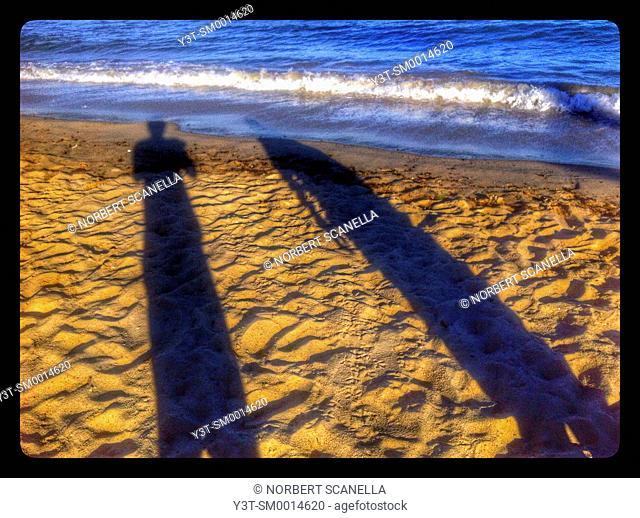 Europe. France. Alpes-Maritime. Cannes. Shadows on a beach