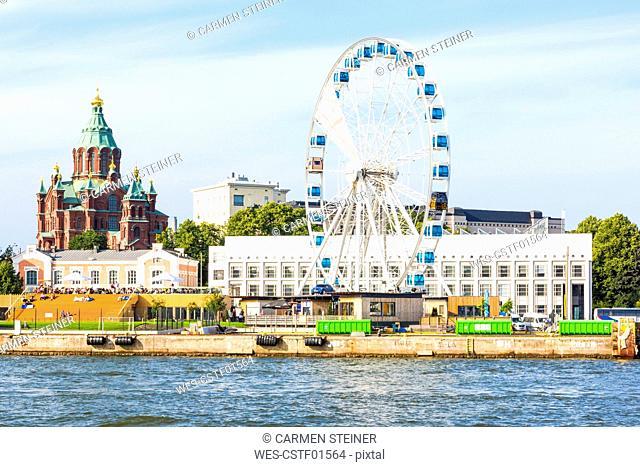 Finland, Helsinki, Uspenski Cathedral, big wheel Finnair Skywheel
