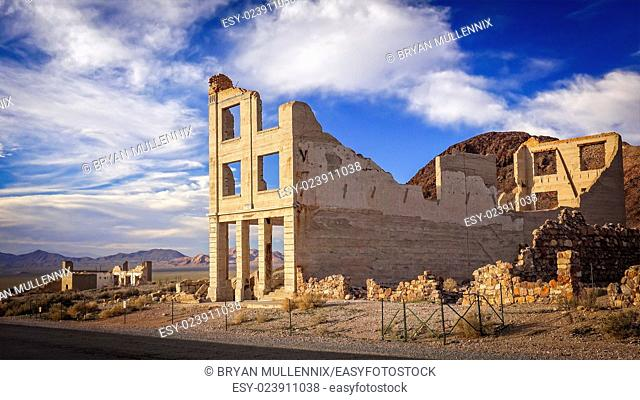 Ruins of the Rhyolite ghost town bank near Death Valley