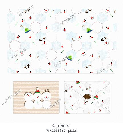 Envelopes with patterns of snowman