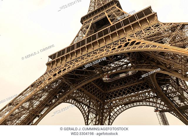 The tower is 324 metres tall, and the tallest structure in Paris. Its base is square, measuring 125 metres on each side. During its construction