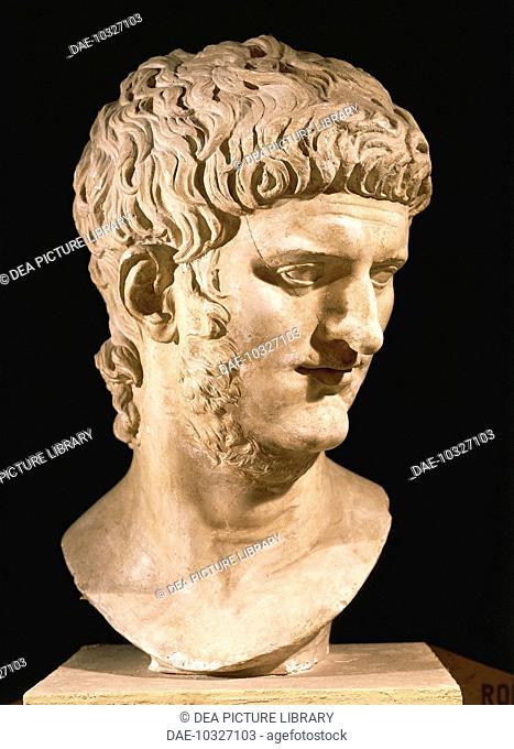 Roman civilization, 1st century A.D. Nero (37-68), Roman emperor from 54, marble portrait head.  Rome, Museo Della Civiltà Romana (Museum Of Roman Civilisation)