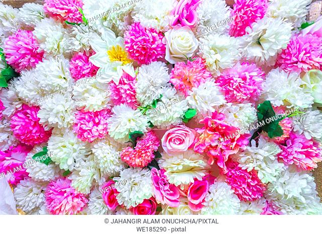 Multi color Hand made paper flower, Wedding decoration and colorful wedding stage in Bangladesh