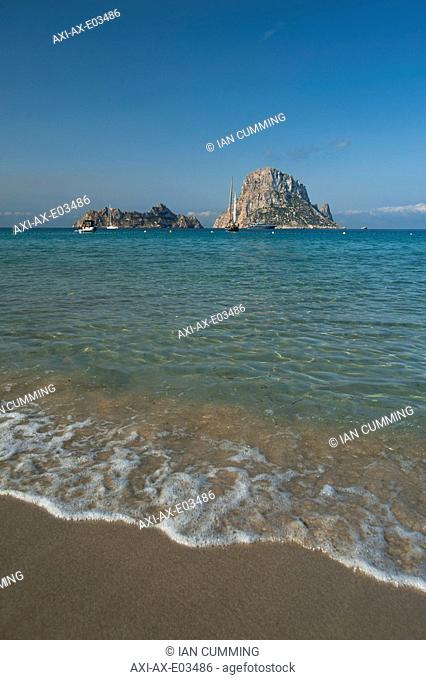 Looking out to Es Vedra Island from Cala d'Hort beachIbiza, Spain
