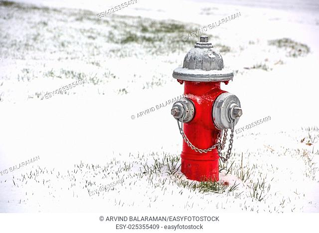 A red fire hydrant burried in snow