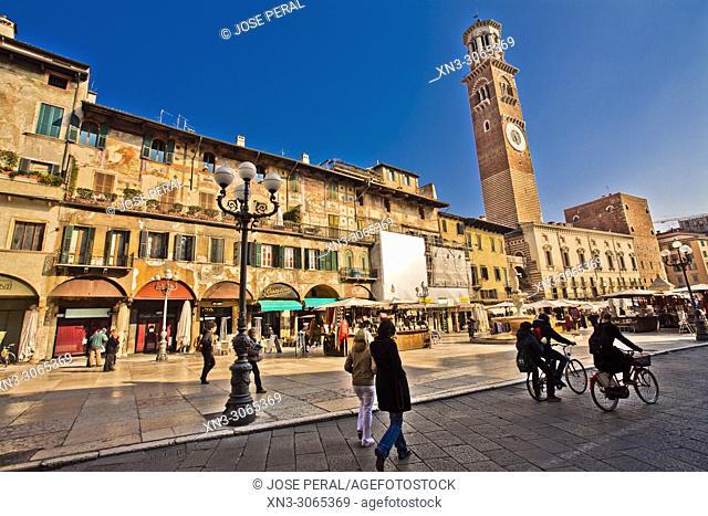 Case Mazzanti houses with frescos, on background, Torre dei Lamberti tower, Piazza delle Erbe square, Verona, Veneto, Italy, Europe