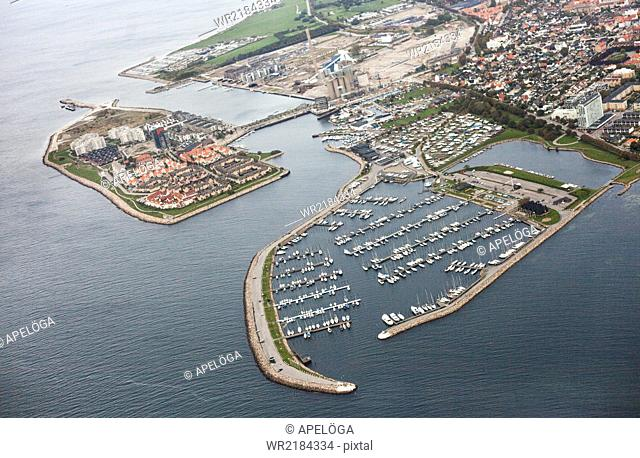 Aerial view of harbor and residential area