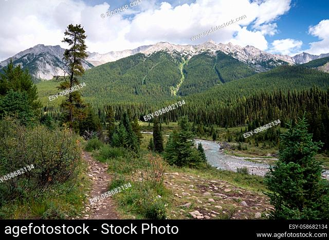 Panoramic image of the landscape along the Bow Valley Parkway, Banff National Park, Alberta, Canada