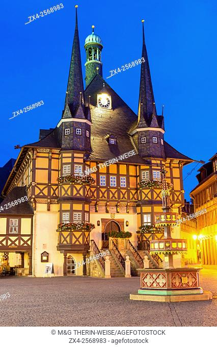 Market square and Town Hall at twilight, Wernigerode, Harz, Saxony-Anhalt, Germany