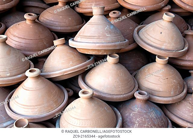 Tagine pots at a shop in the souk, Meknes, Morocco