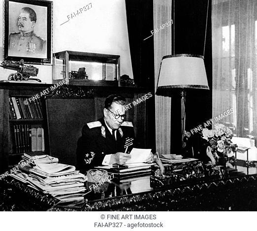President of Yugoslavia Josip Broz Tito in his work studio. Anonymous . Photograph. 1946-1947. Museum of Yugoslavian History, Belgrad