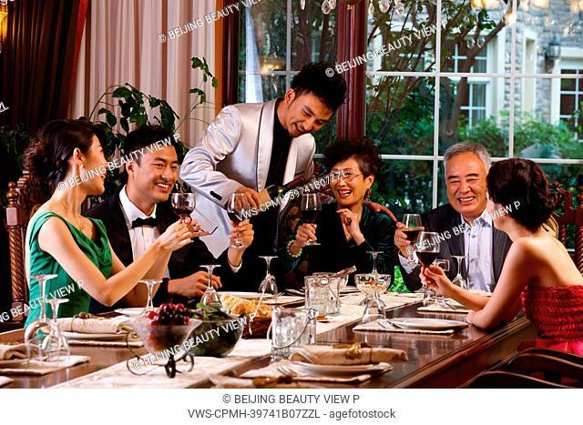 Luxury family having dinner
