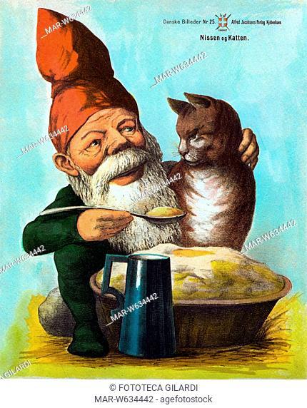 FAVOLE nordiche. Lo gnomo e il gatto, stampa popolare danese. Litografia a colori, 1887., Copyright © Fototeca Gilardi