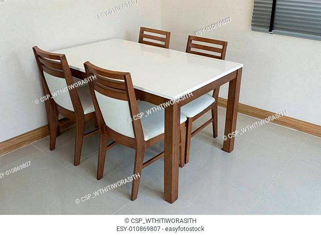 Wooden dining table for 4 people
