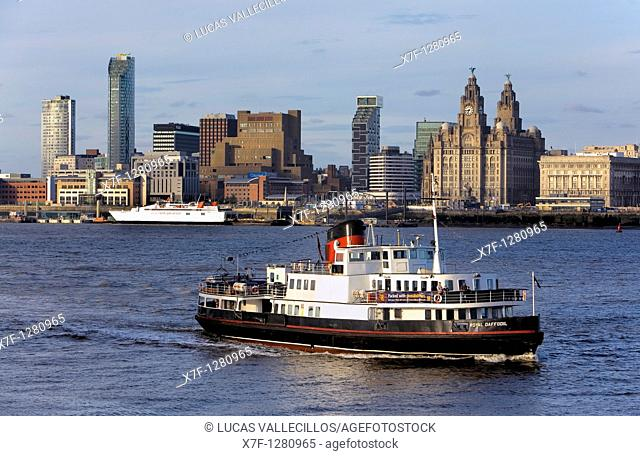 Skyline of the City, as seen from Mersey river Liverpool  England  UK