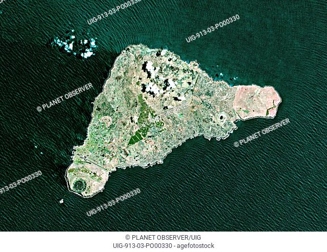 Easter Island, Chile, True Colour Satellite Image. Satellite image of Easter Island or Rapa Nui, territory of Chile, is an isolated island in the South Pacific...