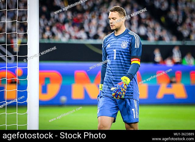 Wolfsburg, Germany, March 20, 2019: German goalkeeper Manuel Neuer during the international friendly game between Germany and Serbia at Volkswagen Arena in...