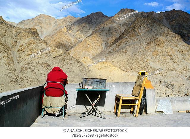 Buddhist monk enjoying the scenery at Likkir's monastery (Ladakh, India)