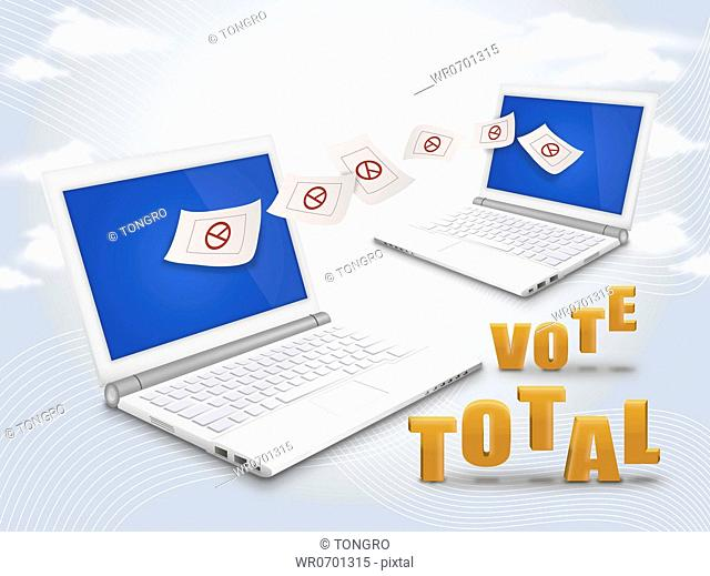 Laptop with ballot paper and the vote total