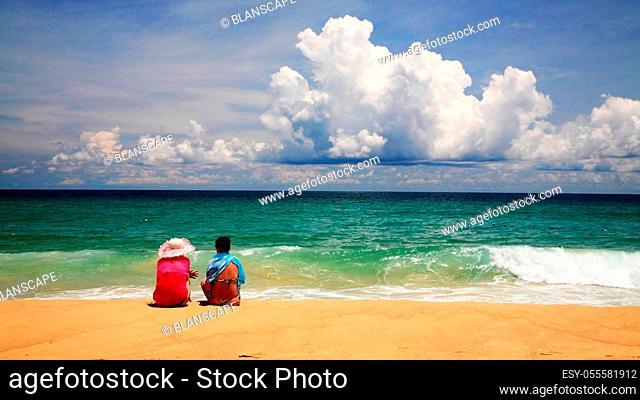 Friends together at Karon beach, Phuket, Thailand