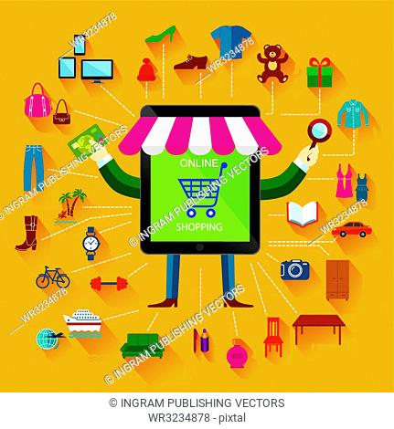 Online shopping and business. Conceptual background. Set of flat icons and design elements