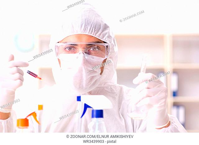 Chemist checking the quality of bathroom supplies