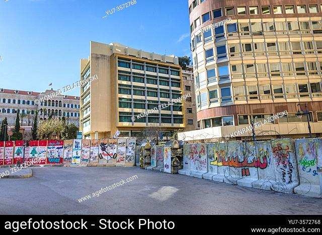 Street barricade around Nijmeh Square nest to Arab Bank and Government Palace left after October Revolution - 2019-2020 protests in Beirut, Lebanon