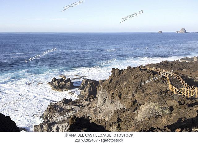 Wavy ocean in Pozo Los Sargos coast of La Frontera El Hierro island Canary islands Spain