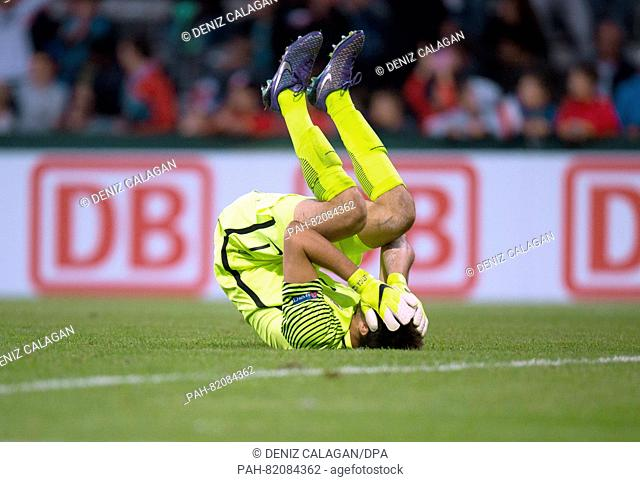 Croatia's goalkeeper Karlo Letica sinks disappointedly to the ground sinkt after the final whistle in the UEFA European Under-19 Championship group B soccer...