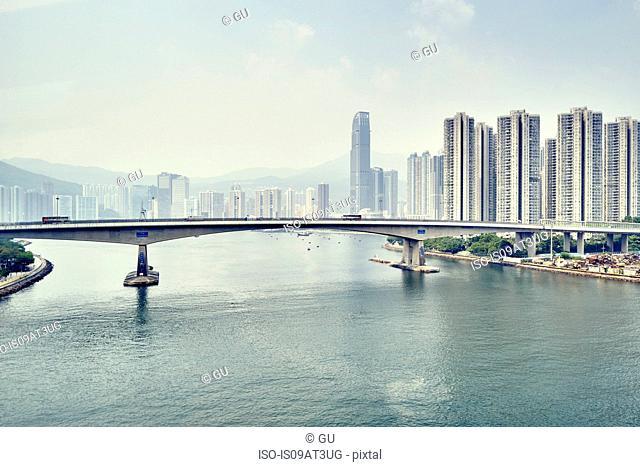 Bridge across harbour, Kowloon, Hong Kong