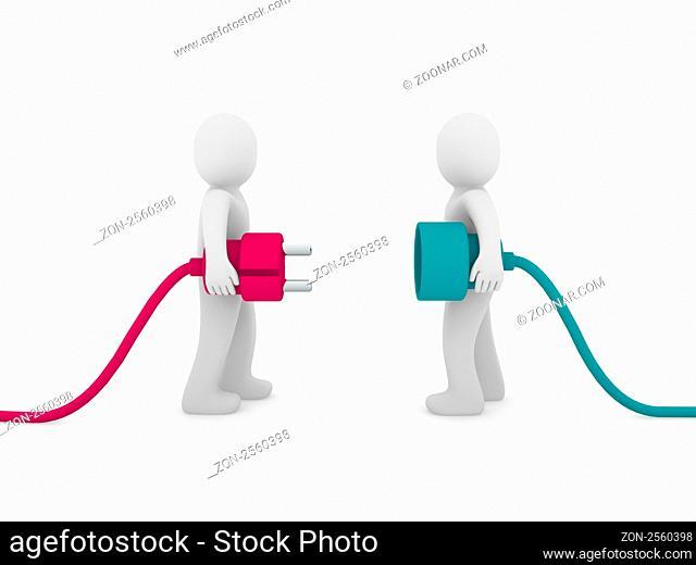 3d men human plug pink green cable energy