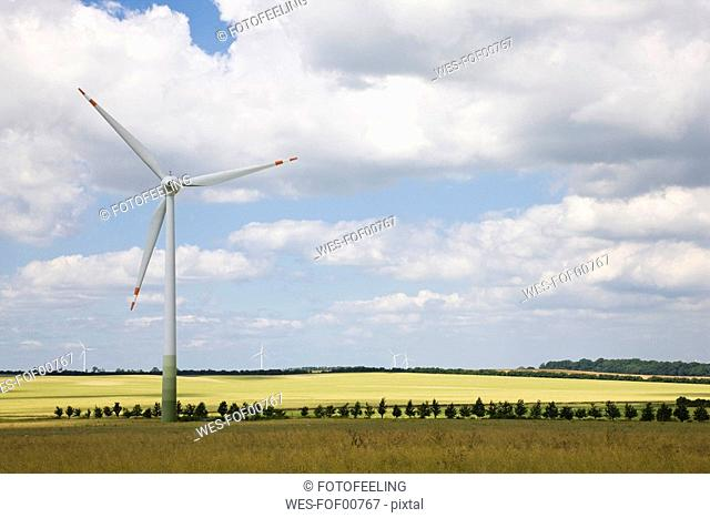 Germany, Saxony-Anhalt, Wind turbines in field