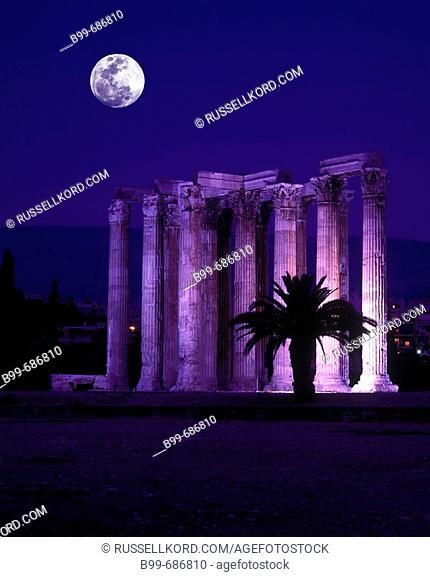 Corinthian Style, Columns Temple Of, Zeus Olympios Ruins, Athens Greece