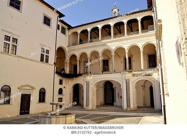 Loggia in the Fountain Court of Castello Colonna castle, 15th Century, mountain town of Genazzano, Lazio, Italy, Europe