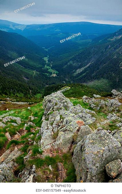 View in to a valley from Snezka Mountainin Krkonose National Park, Czech Republic, Europe