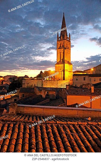 Saint-Emilion UNESCO World Heritage site in France. The belfry at dusk