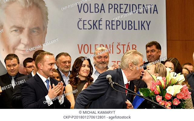 Incumbent Czech President Milos Zeman accompanied by his wife Ivana Zemanova (right) attend a news conference in TOP Hotel Prague after being re-elected for...