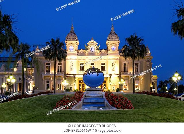 The Casino Monte Carlo at dusk in Monaco
