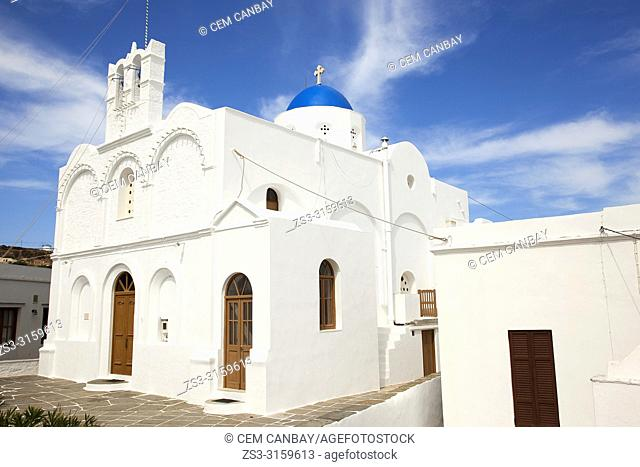 View to the Taxiarchis Church in Apollonia village, Sifnos Island, Cyclades Islands, Greek Islands, Greece, Europe