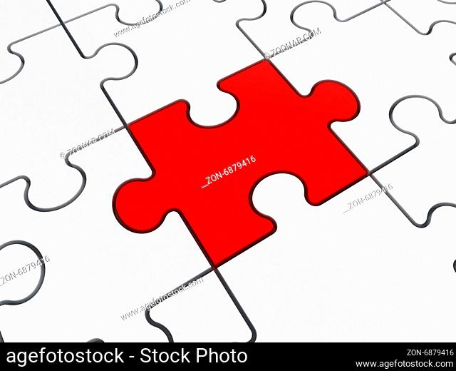 Red puzzle piece standing out from the crowd, isolated on white background