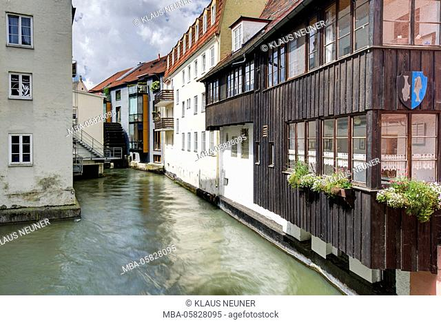 Architecture in the local brook, Landsberg in Lech, Bavarians, Germany